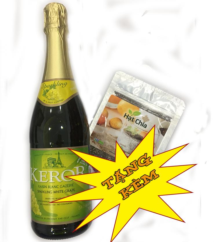 Nước ngọt trái cây có ga KEROR trắng - Tặng kèm hạt chia gói 50g